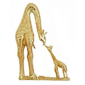 Mother and Baby Giraffe Brooch Gold