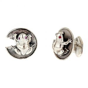 Frog and Water Lily Leaf Cufflinks ss