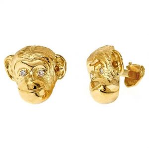 Monkey Head Cufflinks Gold