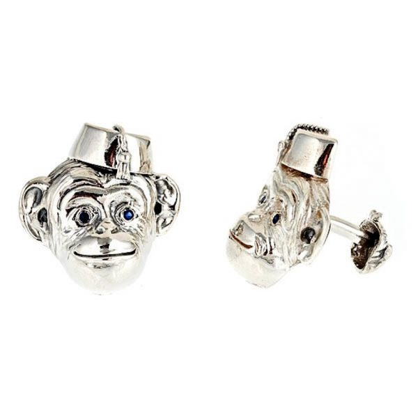 Monkey In Hat Cufflinks Silver