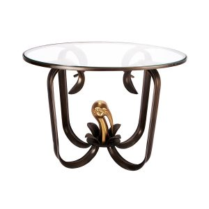A Single Bronze and Glass Side Table