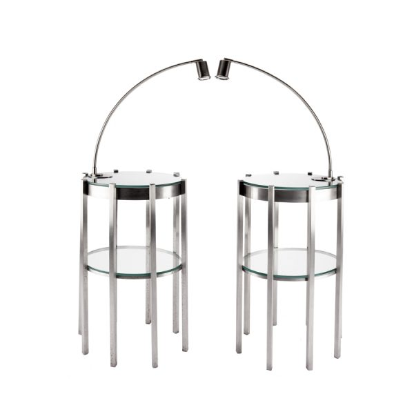 Pair of Stainless Steel Bedside Tables