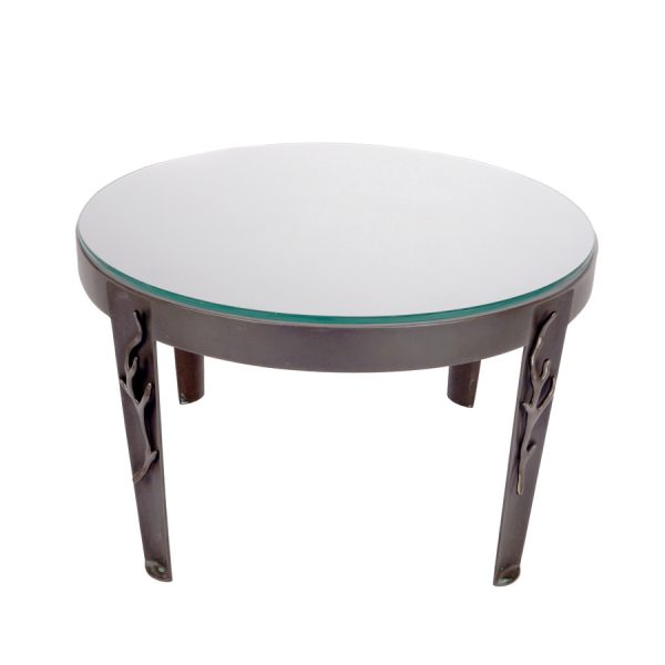Round Bronze Side Table with Green Patination