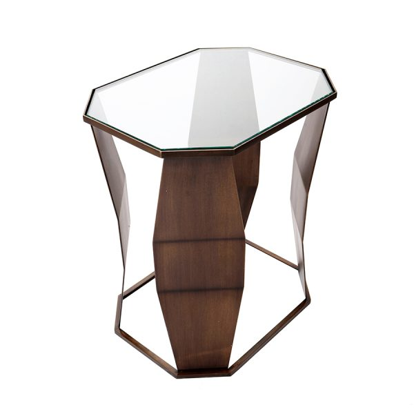 A Low Bronze and Glass Elliptical Side Table