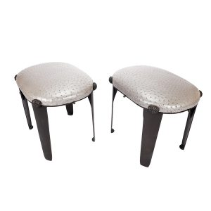 A Pair of Bronze Stools with Slip Seats Upholstered in Silver Ostrich Skin