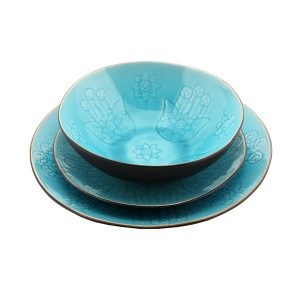 Blue Khamsa Motif Dinner Plate Sets