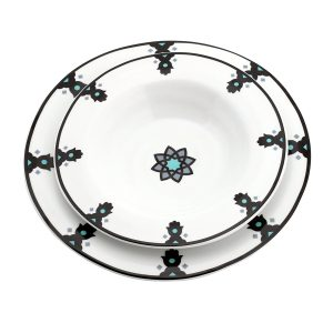 White Khamsa Motif Dinner Plates Set