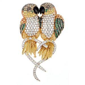 Caique Parrots Brooch