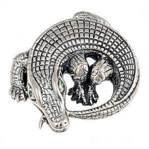 Curled Alligator Brooch Silver