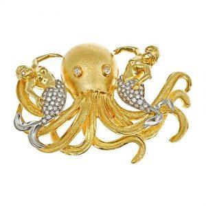Octopus and Mermaids Brooch
