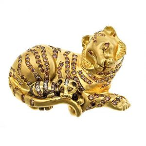 Tiger and Cub Brooch With Cognac Diamonds
