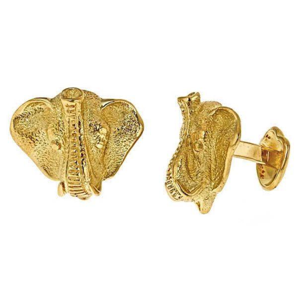 Elephant Head Gold Cufflinks