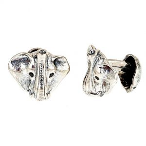 Elephant Head Cufflinks w/ Black Diamond Eyes