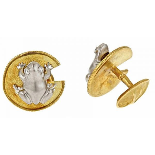 Frog and Water Lily Leaf Cufflinks P