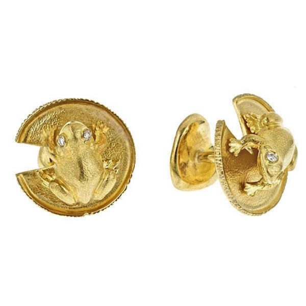 Frog and Water Lily Leaf Cufflinks 18K
