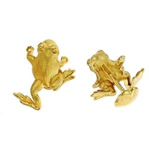 Striding Frog Cufflinks Gold