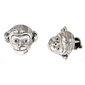 Monkey Head Cufflinks Silver