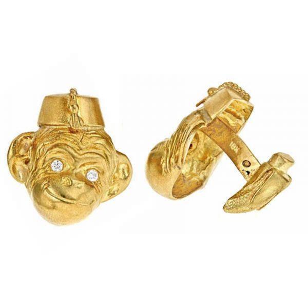 Monkey in Hat Cufflinks Gold with Diamonds