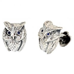 Owl Cufflinks Silver Onyx Eyes