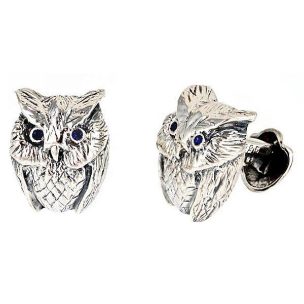 Owl Cufflinks Silver Onyx Eyes