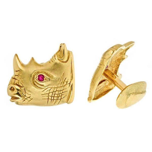 Rhinoceros Cufflinks Gold