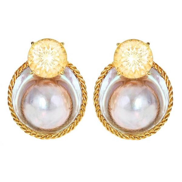 Rope and Pearl Citrines Earrings