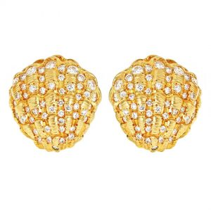 Clam Shell Earrings Diamond
