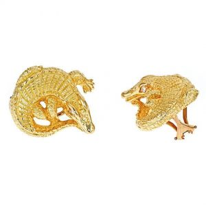 Curled Alligator Earrings with Diamonds