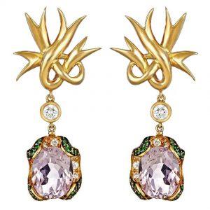 Lily of France Amethyst Ribbon Earrings