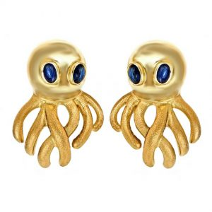 Octopus Sapphire Eyes Earrings