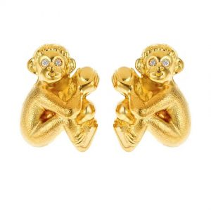 Seated Monkey Baby Earrings