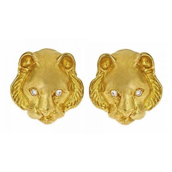 Tiger Head Earrings with Diamonds