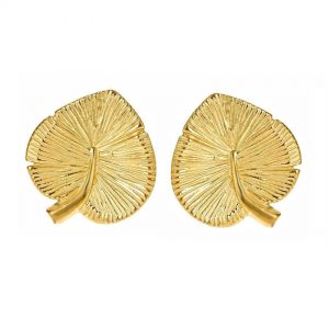 Water Lily Leaf Gold Earrings