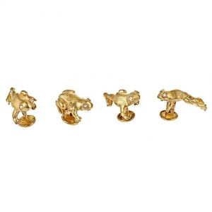 Striding Frog Shirt Studs