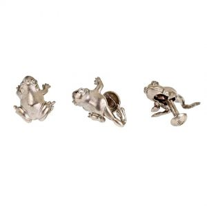 Striding Frog Shirt Studs Platinum
