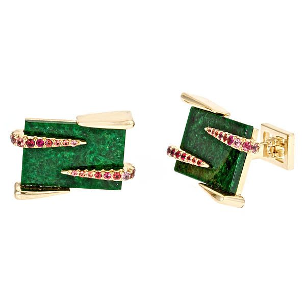 Rectangular Green Jade Cufflinks