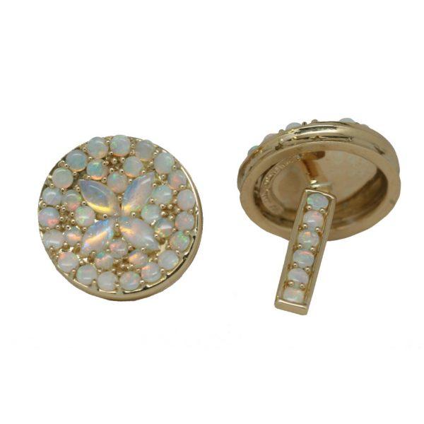 Round Blue Opal Cufflinks