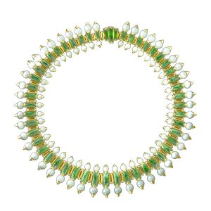 White and Green Jade Reversable Necklace (Salon Collection)