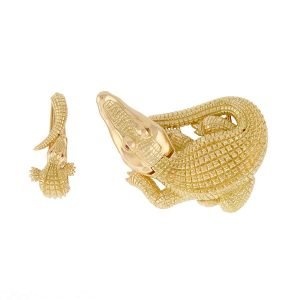 Gold Curled Alligator with open Jaw