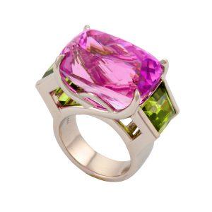Kunzite Ring with Peridot