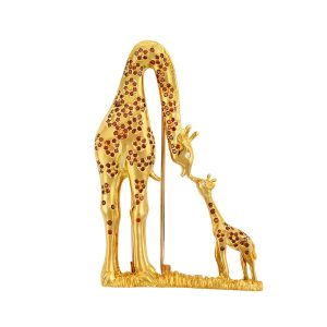 Mother and Baby Giraffe Brooch Gold with Cognac Diamonds