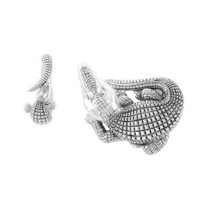 Silver Curled Alligator With Open Jaw