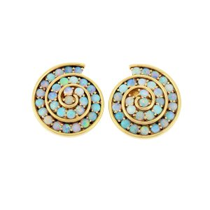 Spiral Blue Opal Earrings