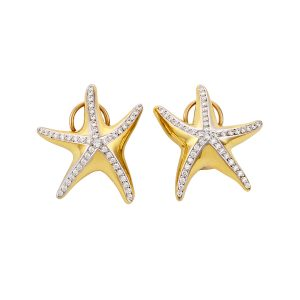 Starfish Earrings Diamonds