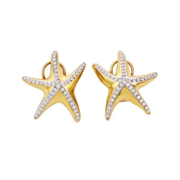 Starfish Earrings Diamonds