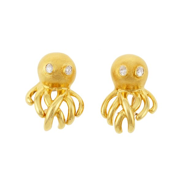 Octopus Earrings with Diamond Eyes