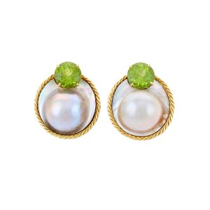 Rope and Pearl Green Peridots Earrings