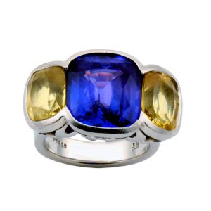 Purple and Yellow Sapphire Ring
