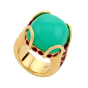 Green Dome Chrysoprase Ring